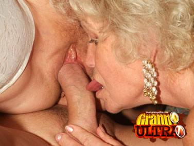 Naughty Grandmas Sharing a Cock