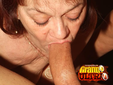 Grandma Paula Swallowing a Big Cock