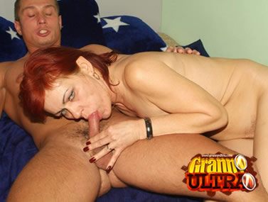 Ginger Granny Performs Oral