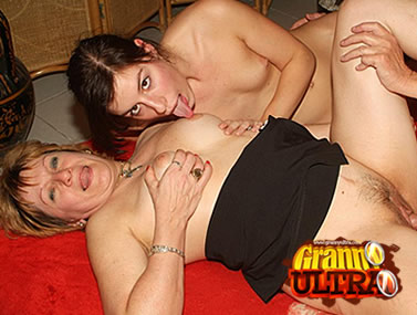 Granny Shares a Cock with Teen
